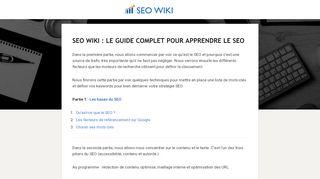 SEO WIKI, guide web pour apprendre le SEO